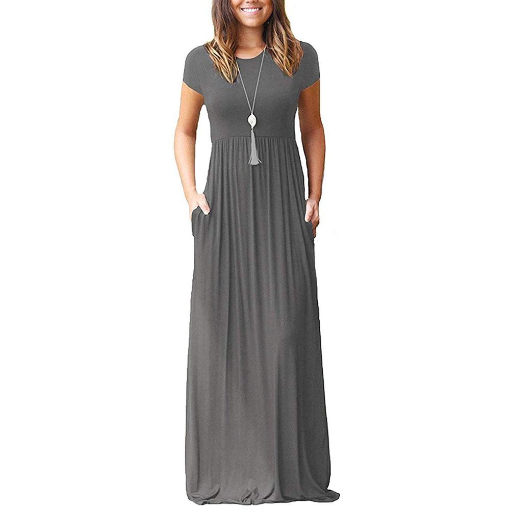 VIISHOW Womens Short Sleeve Loose Plain Maxi Dresses Casual Long Dresses with Pockets